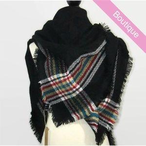 Accessories - Black & Plaid Strip Blanket Scarf